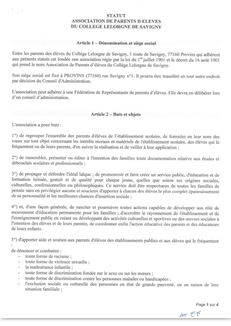 Les Statuts Association Des Parents D Eleves Du College Lelorgne De Savigny